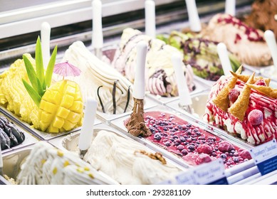 classic traditional selection italian gelato ice cream in shop display