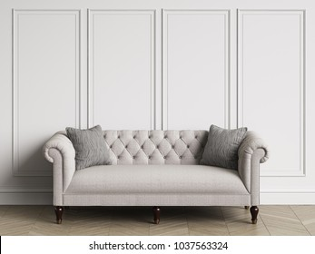 Classic tufted sofa  in classic interior with copy space.White walls with mouldings. Floor parquet herringbone.Digital Illustration.3d rendering