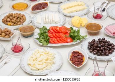 classic turkish breakfast on table