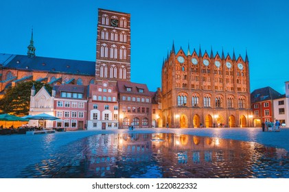 Classic twilight view of the hanseatic town of Stralsund during blue hour at dusk, Mecklenburg-Vorpommern, Germany
