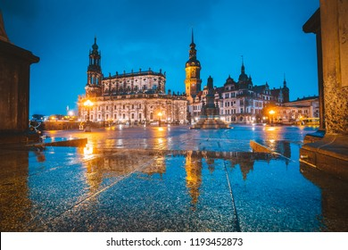 Classic twilight view of historic Dresden city center illuminated in beautiful evening twilight with dramatic sky during blue hour at dusk, Saxony, Germany
