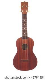 A classic ukulele isolated on white background