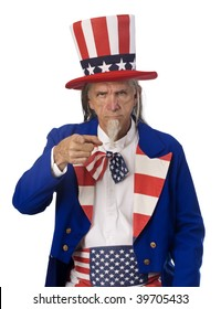 Classic Uncle Sam poster pose on a white background with Uncle Sam pointing his finger at the camera