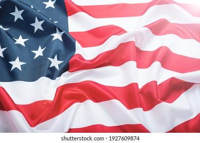 classic usa flag with sun glare. toned photo