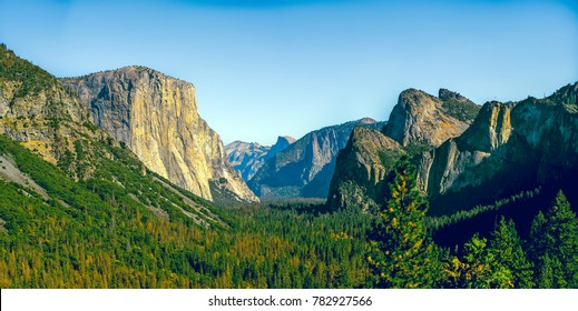 Classic Valley view in Yosemite National Park, California. The must-go attraction for tourists visiting California. Half dome.