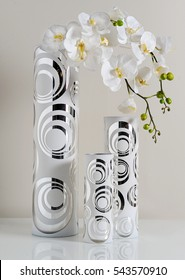 classic vases design with decoration flowers