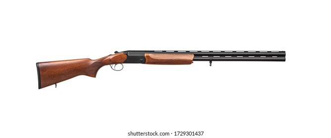 Classic vertical double-barreled hunting rifle isolate on a white background. Smoothbore weapon with a wooden butt for hunting, sports and self-defense.