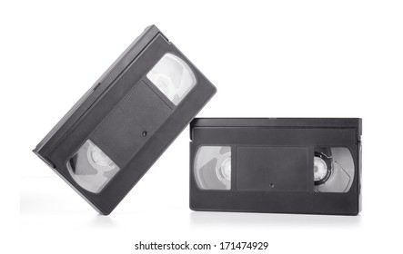Classic vhs cassette isolated on white