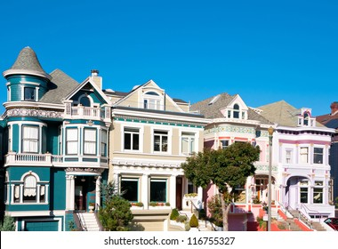 Classic victorian houses in San Francisco, California, USA