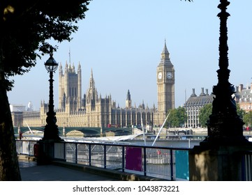 Classic view across the Thames River to houses of Parliament, London