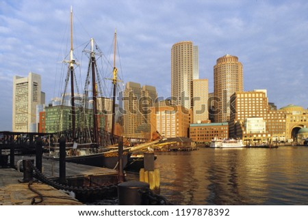 classic view at Boston Harbour in the morning