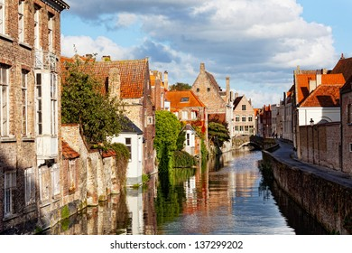 Classic view of channels of Bruges. Belgium. Medieval fairytale city.