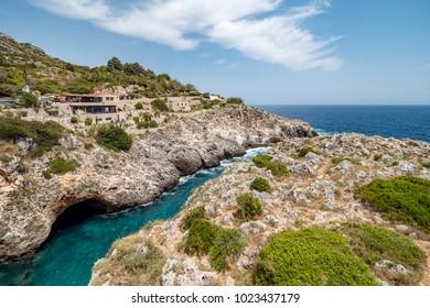 Classic view of cliff and Puglia coast line, Salento