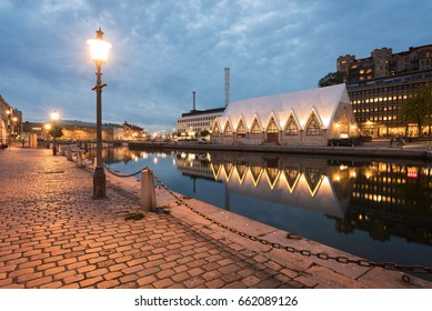 A classic view of Fiskekyrka located in Gothenburg, Sweden. Fiskekyrka is an indoor fish market located in Gothenburg in Sweden. It got its name from the building that look likes a Gothic church.