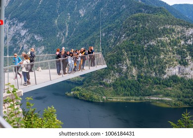 Classic View from Hallstatt Skywalk view from SalzWelten Tourists come from all over the world at there Salzburg Austria September 13th 2017