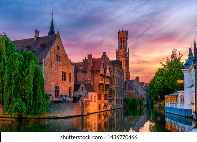 Classic view of the historic city center of Bruges (Brugge), West Flanders province, Belgium. Sunset cityscape of Bruges.