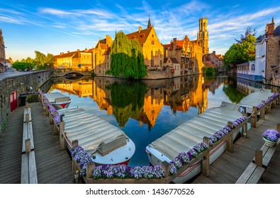 Classic view of the historic city center of Bruges (Brugge), West Flanders province, Belgium. Cityscape of Bruges.