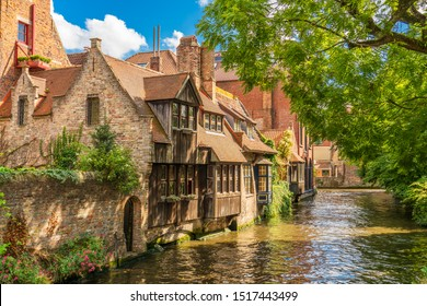 Classic view of the historic city center of Bruges (Brugge), West Flanders province, Belgium. Cityscape of Bruges. Architecture and landmark of Bruges