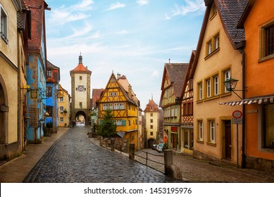 Classic view of the medieval city of Rothenburg ob der Tauber at Christmas, Bavaria, Germany