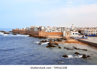 Classic view of medina Essaouira and Atlantic ocean, Morocco, North Africa. UNESCO world heritage site