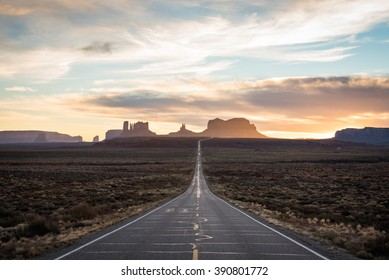 Classic view of Monument Valley at sunset, Arizona