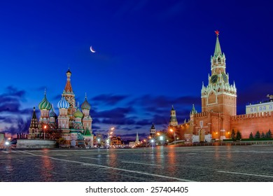 Classic view of the Moscow Kremlin with the moon