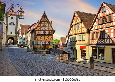 Classic view of the Old town in Rothenburg ob der Tauber beautiful summer sky in Bavaria, Germany.