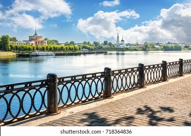 Classic view of the Volga River Embankment in Tver and a view of the Catherine Monastery and the River Station with a boat
