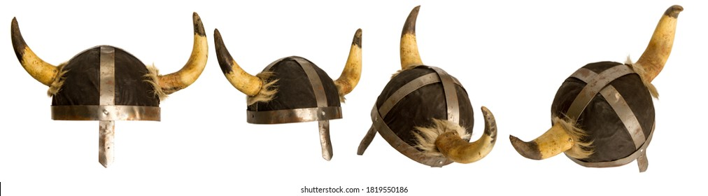 classic viking horned helmet in several positions isolated on white background