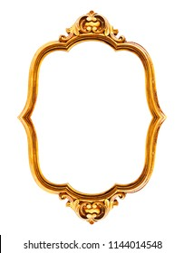 Classic vintage Antique gilded frame isolated on white background, including Clipping Path