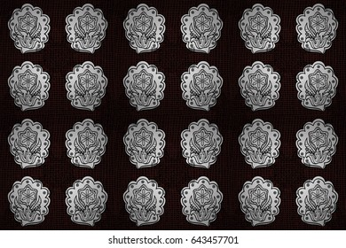 Classic vintage background. Classic raster white and white pattern. Traditional orient ornament with white doodles.