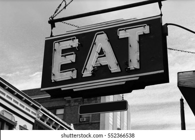 Classic Vintage Eat Signage on Vintage Building