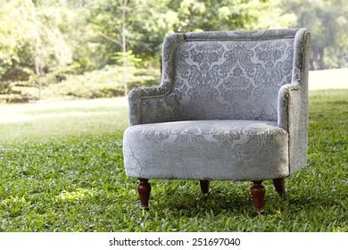 Classic vintage gray sofa set in the garden,Rim Light