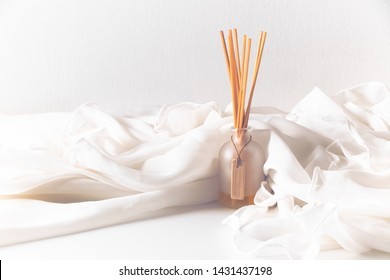 classic vintage oriental style of smell perfume diffuser herbal extract oil aromatic in asian spa treatment cosmetic conecpt, relax theraphy, fabric textile, white background  - Shutterstock ID 1431437198