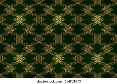 Classic vintage ornament on a green background. Seamless classic raster golden pattern. Traditional orient ornament.