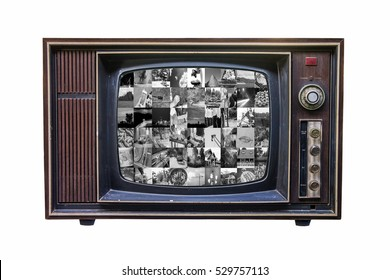 Classic Vintage Retro Style old  television screen with black and white video gallery on  isolated background.