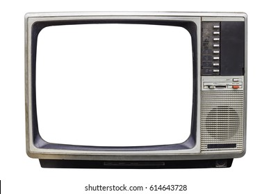 Classic Vintage Retro Style old  television with cut out screen,.old  television on  isolated background.
