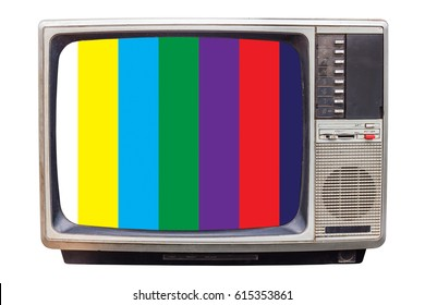Classic Vintage Retro Style old television with NTSC tv pattern signal for test purposes