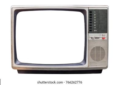 Classic Vintage Retro Style old television with cut screen, old tv isolated on white background