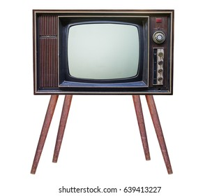 classic vintage retro style with stand ,old  television with cut out screen,old  television on  isolated background.