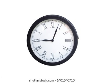 Classic and vintage Roman numerals wall clock isolated on white background with clipping path