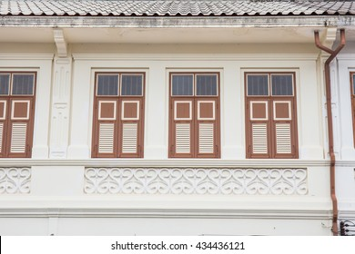 Classic vintage windows Sino-Portuguese style architecture at Phuket Thailand