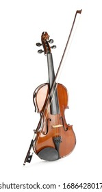 Classic violin and bow on white background. Musical instrument