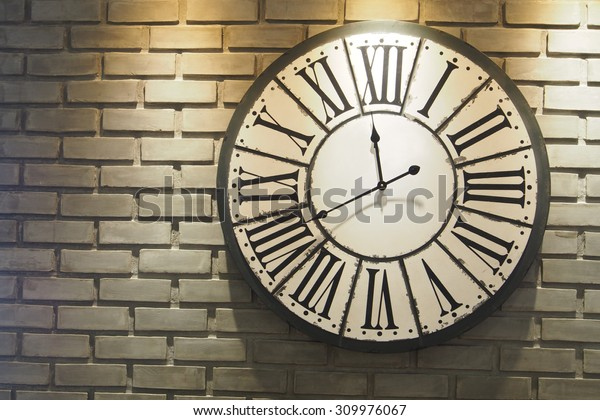 Classic Wall Clock On Brick Wall Stock Photo Edit Now 309976067