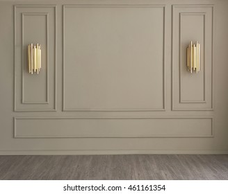 classic wall interior and modern frame with gold lamp