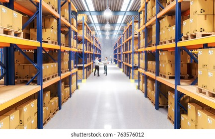 classic warehouse with pallet 3d rendering image