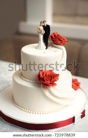 Classic Wedding Cake Red White Colors Stock Photo Edit Now