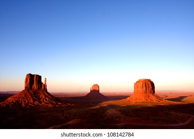 The classic western american  landscape in Monument Valley, Utah