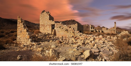 A Classic Western Ghost Town Slowly Melting Back Into The Desert From Which It Sprang, Rhyolite Nevada, An Abandoned Town Near Death Valley
