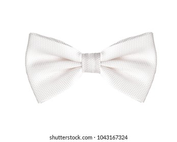 Classic white bow tie, isolated on white background.